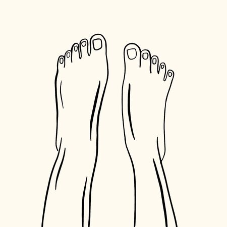 Bare feet. Vector linear illustration. Freehand drawing