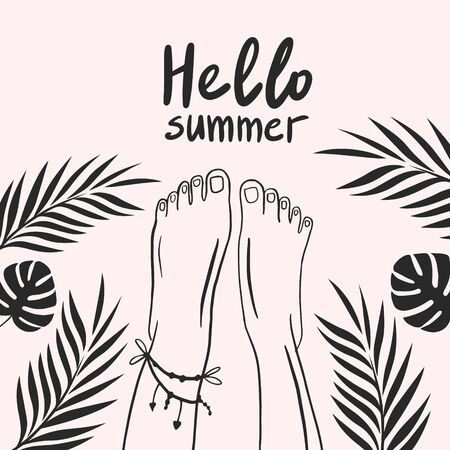 Bare feet with tropical leaves. Tropical leaves. Hello summer. Vector linear drawing
