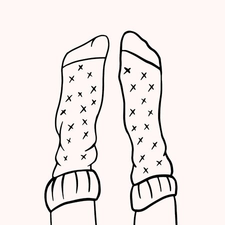 Legs in socks. Vector linear illustration in doodle style. freehand drawing. Doodle style drawing 일러스트