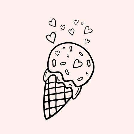 Ice cream. Ice cream cone with hearts. Vector linear illustration in doodle style. Freehand drawing