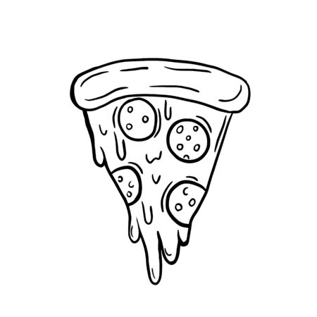 A slice of pizza. Vector freehand drawing. Linear doodle illustration. Pizza symbol.