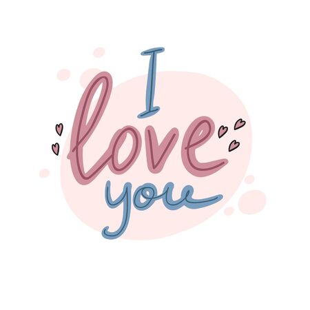I love you. Vector handwritten inscription. Doodle style drawing. Lettering. Ilustracja