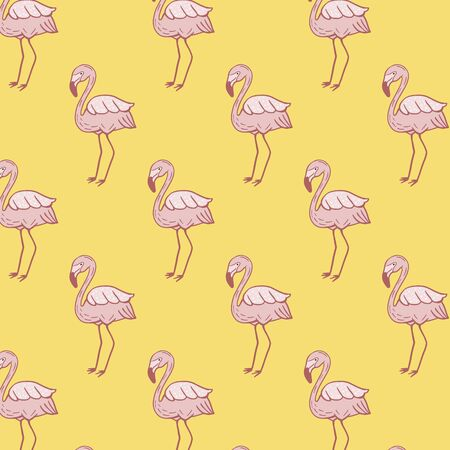 Pattern with flamingos. Vector ornament with pink flamingos. Summer design. Ilustracja