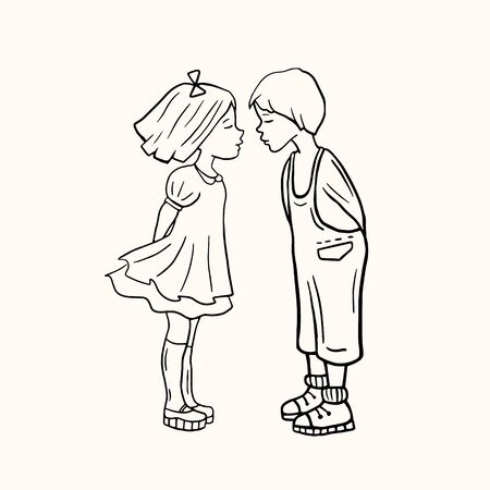 Loving boy and girl. Kissing lovers. loving. Vector linear illustration. Drawing people.