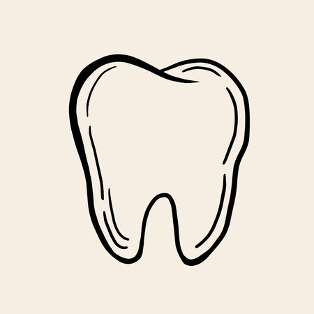 Tooth. Vector linear illustration in sketch style. Freehand drawing of a tooth. Tooth symbol