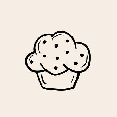 Cupcake. Vector linear drawing of baking in sketch style. Logo in the form of a cake