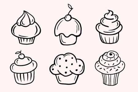 Set of cupcakes. Set of Vector linear illustrations in doodle style. Freehand drawing.