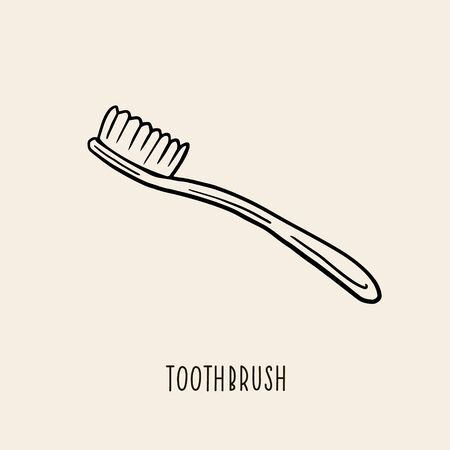 Toothbrush. Vector linear illustration by hand. Oral care symbol