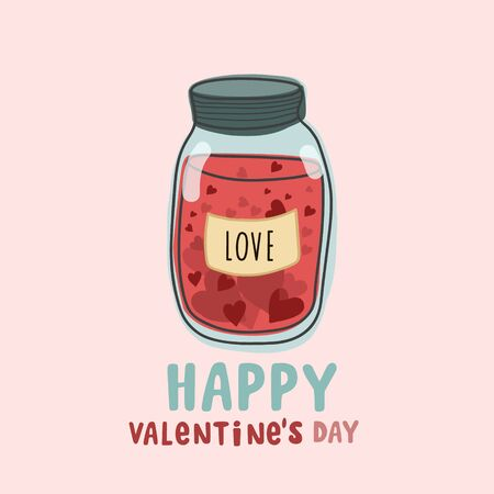 Jar with hearts. Happy Valentines Day.Vector color illustration in cartoon style. Doodle drawing style