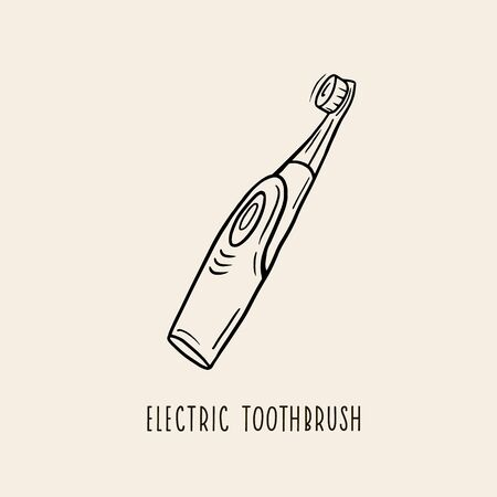 The electric toothbrush. Vector linear illustration by hand. Oral care symbol