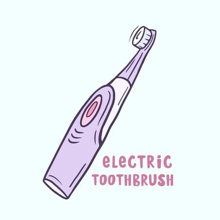 The electric toothbrush. Vector color sketch in cartoon style. Freehand drawing Ilustracja
