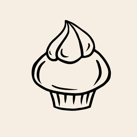 Cream cake. Vector linear drawing of a cake. The symbol of baking Ilustracja
