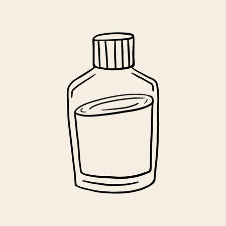 Glass jar. Vector linear illustration of a vessel. Glass bottle symbol