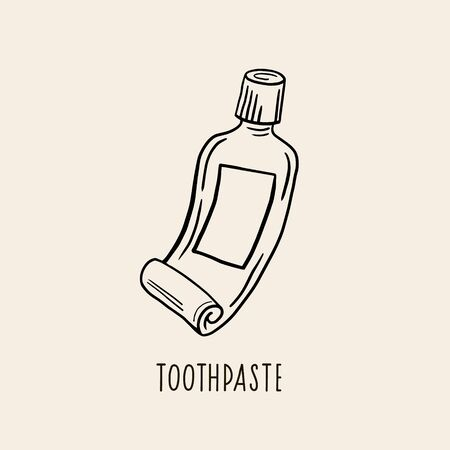 Toothpaste. Vector linear illustration. Freehand drawing Sketch