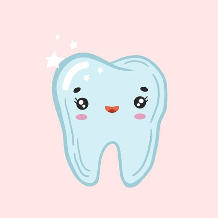Happy tooth. Vector color sketch of a tooth. Happy tooth. Kawaii character