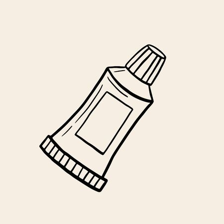 A tube of paint, toothpaste, cosmetics. Tube for cosmetics. Vector drawing in sketch style. Linear and illustration