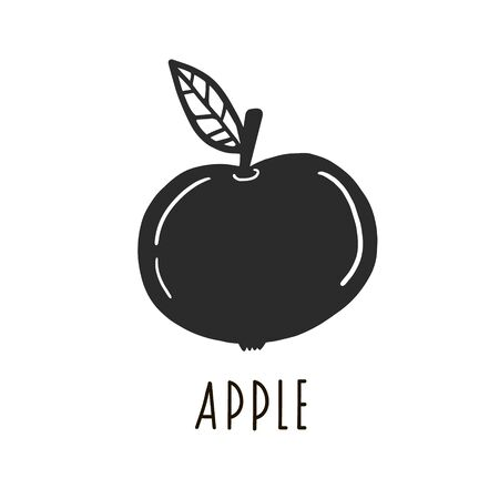 Apple. Vector black drawing of an apple. Simple illustration
