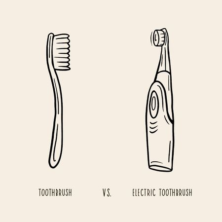 Toothbrush, electric toothbrush. Vector linear illustration. Freehand drawing in sketch style