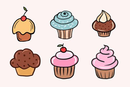Set of cupcakes. Set of Vector color illustrations of cupcakes in cartoon style. Drawing cakes by hand.