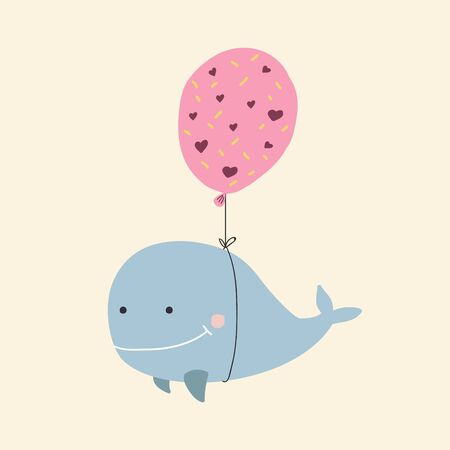A whale in a balloon. Color vector illustration. Cartoon whale drawing