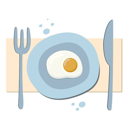 Fried eggs. Omelet drawing. Vector color illustration of breakfast. Drawing in cartoon style. Ilustracja