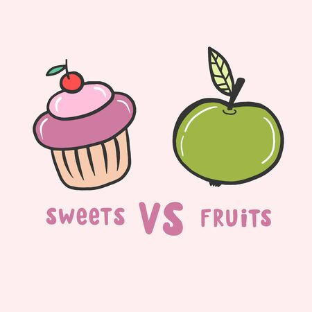 Apple and cake. Sweets versus fruits. Vector color illustration in cartoon style. Freehand drawing.