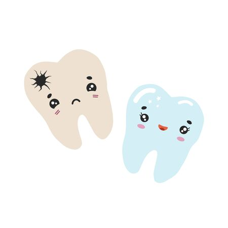 Healthy and bad tooth with caries. Vector color illustration in cartoon style. Dental drawing.