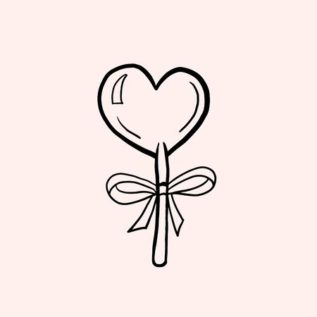 Heart shaped lollipop. Vector linear illustration in doodle style. Candy on a stick Ilustracja