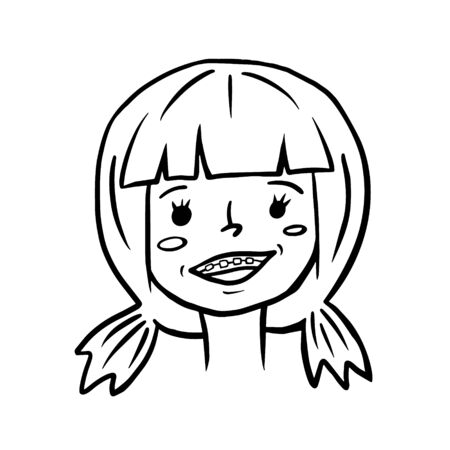 A smiling girl. Vector linear illustration of a girl with braces. Sketch style portrait.