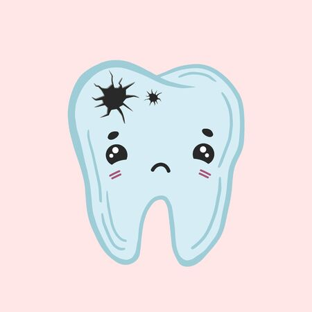 Tooth with caries. Color vector drawing of a sick tooth. Kawaii rusty character. Ilustracja