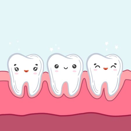 Teeth in the gums. Vector color illustration in cartoon style. Kawaii character. Childrens dentistry.