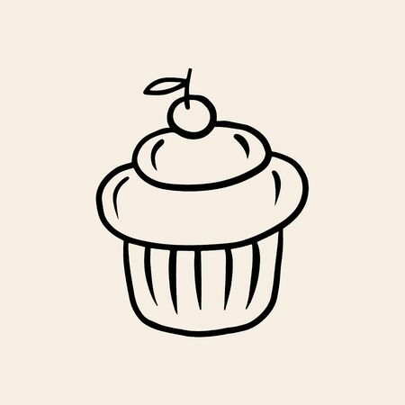 A small cake with a cherry. Vector linear drawing of a cake. The symbol of baking.