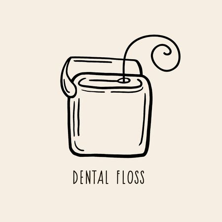 Dental floss. Vector linear drawing. Contour illustration. Ilustracja