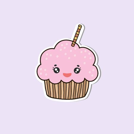 Kawaii Cupcake. Vector color sketch of a cake. Cartoon character cupcake. Cartoon illustration.