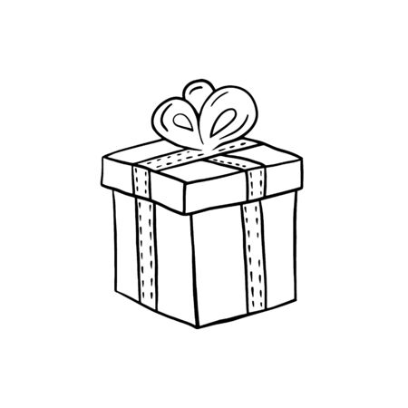 Gift. Vector linear drawing of a gift box. Freehand illustration in doodle style. Gift symbol.