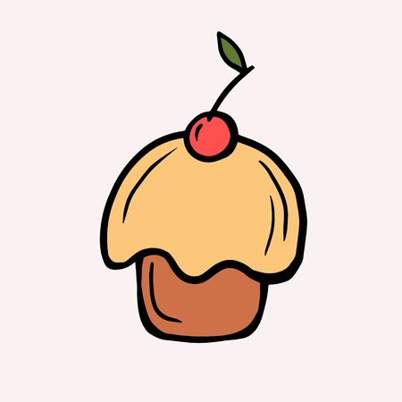 Cupcake with a cherry. Vector color illustration in cartoon style. Doodle style cake drawing