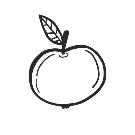 Apple. Vector drawing of an apple. Linear simple illustration Ilustracja