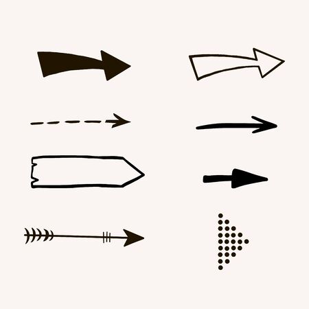 Set of arrows. Vector freehand drawing in doodle style. Collection of different arrows. Ilustracja