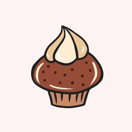 Chocolate muffin with cream. Vector color sketch in cartoon style. Illustration of cupcake in doodle style Ilustracja