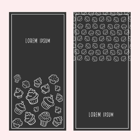 Cupcake Banner. Vector illustration of sweets in a linear style. Design for cafe, restaurant, candy store