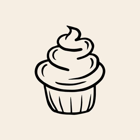 Cream Cupcake. Vector linear drawing of a cake. The symbol of baking