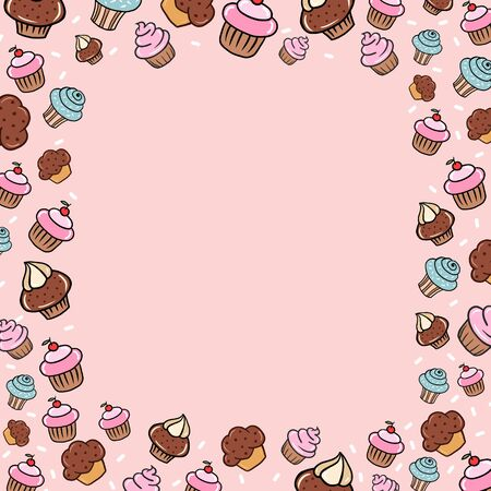 Banner with cakes. Vector illustration of sweets in cartoon style. Background for cafe, restaurant, candy store