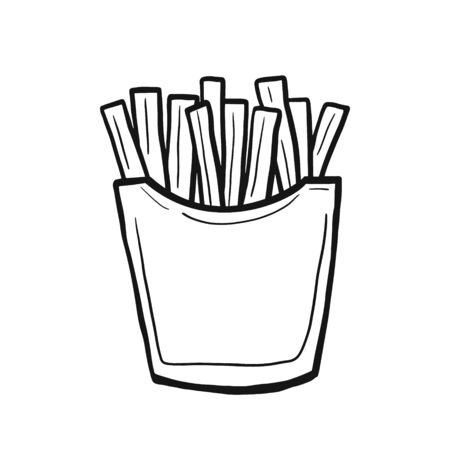 French fries. Vector linear doodle style. Freehand illustration. Fast food Ilustracja