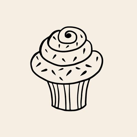 A small cupcake. Vector linear drawing of a cake. The symbol of baking