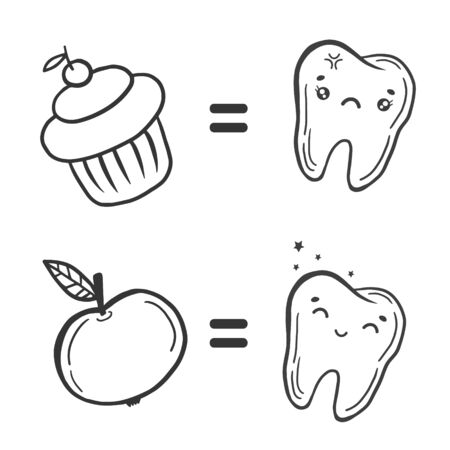 Teeth and sweets. Teeth and fruits. Vector linear illustration. Doodle style drawing