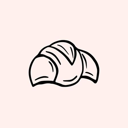 Croissant Linear vector illustration in doodle style. Drawing baking, drawn by hand