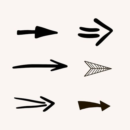 Set of arrows. Vector freehand illustration in doodle style. Collection of different arrows.