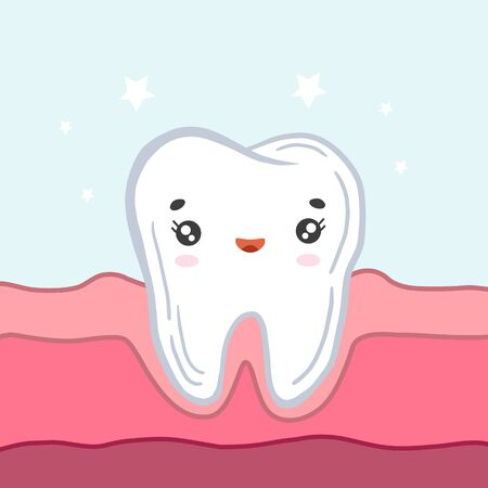 Happy tooth in the gums. Vector illustration in cartoon style. Cute character