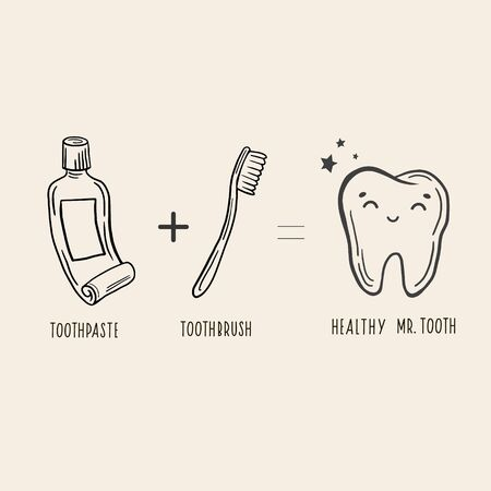 Toothbrush, toothpaste, healthy tooth. Vector linear illustration in doodle style. Just a sketch