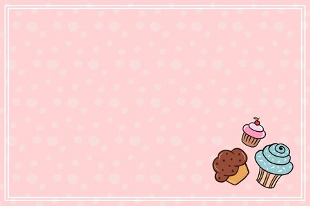 Vector background with sweets. Illustration of cupcakes in cartoon style on a pink background. Horizontal background